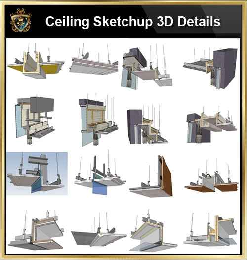 Sketchup Ceiling Details,light steel frame ceiling,hard cover ceiling,plasterboard ceiling,mirror ceiling,wood veneer ceiling,mineral wool board ceiling,air conditioning duct,smoke blocking wall,aluminum plate,gypsum board