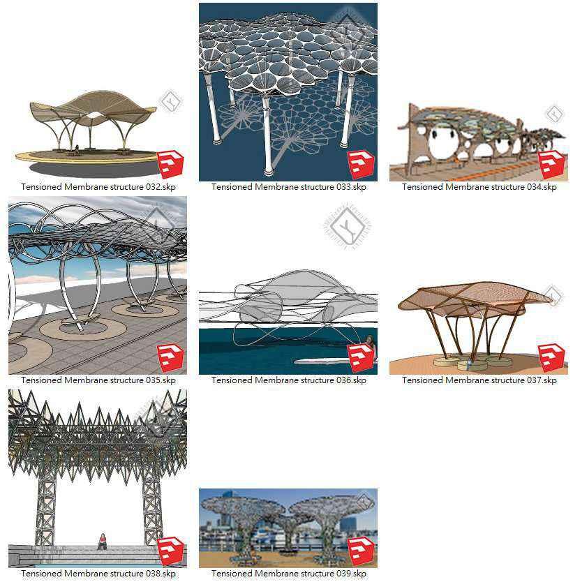 【Sketchup 3D Models】19 Types of Tensioned Membrane Structure Sketchup Models V.2