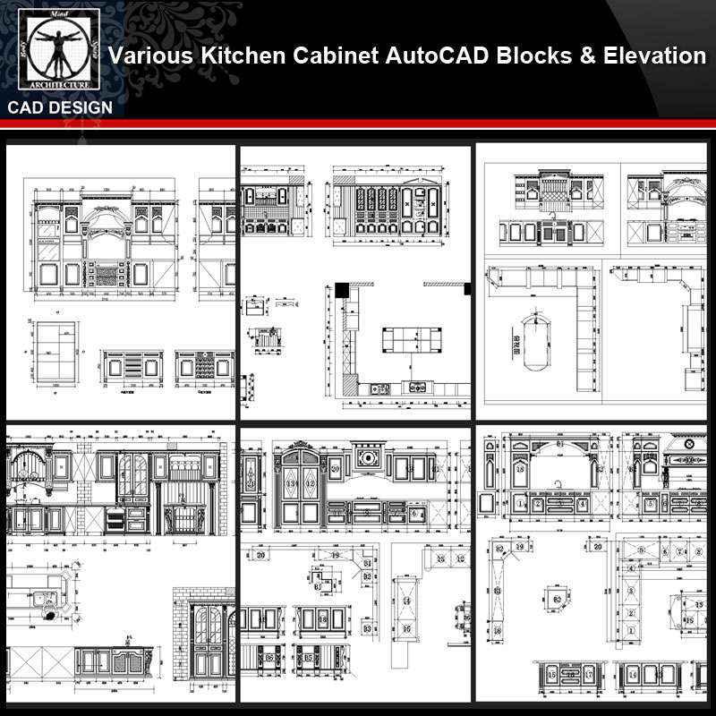 Various Kitchen Cabinet Autocad Blocks & elevation V.3】All ...