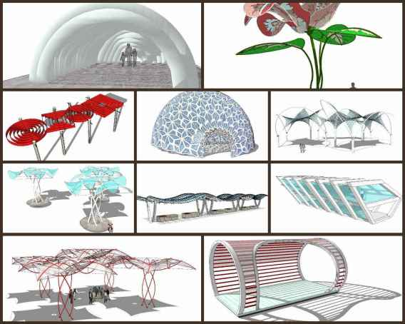 💎【Sketchup Architecture 3D Projects】10 Types of Creative landscape structure Sketchup 3D Models V2